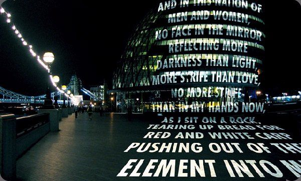 Light Projection on a London building. Jenny Holzer. 2006. London.