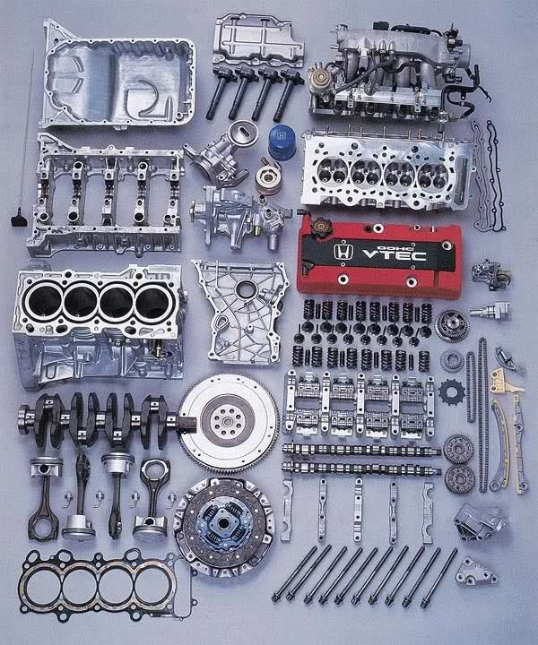 Exploded View of Car Engines
