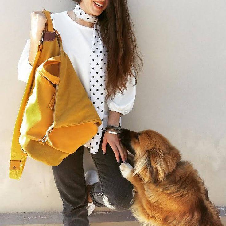Handmade convertible backpack in  yellow canvas- leather ,named Moira by iyiamihandbags on Etsy