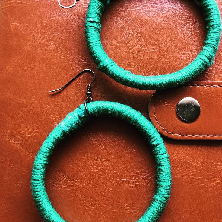 Green, Woven Tribal Hoop Earrings. Hand woven with hook earring fittings for pierced ears by RufusandOscar on Etsy