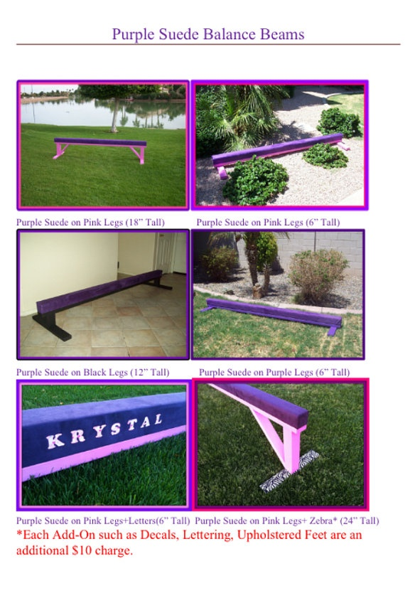 Custom Made Gymnastics Balance Beams in Tons of Colors by crixina, $105.00