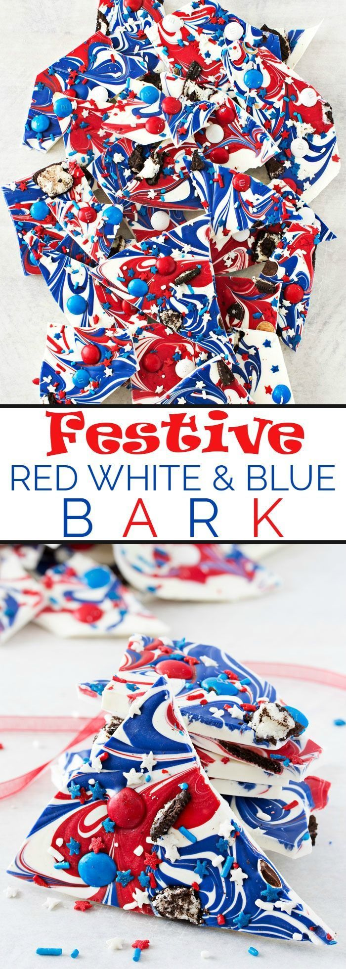 Festive Red White and Blue Bark   This simple and fun no-bake bark recipe is perfect for Memorial Day or Independence Day! So simple, even your kids can make it!   thechunkychef.com