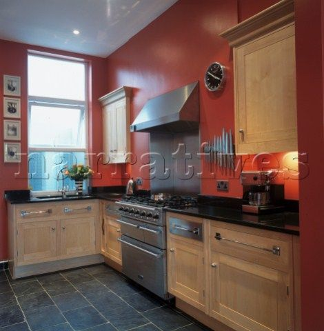 Red Painted Kitchen Walls Google Search Slate Floors Oak Cabinets Although These