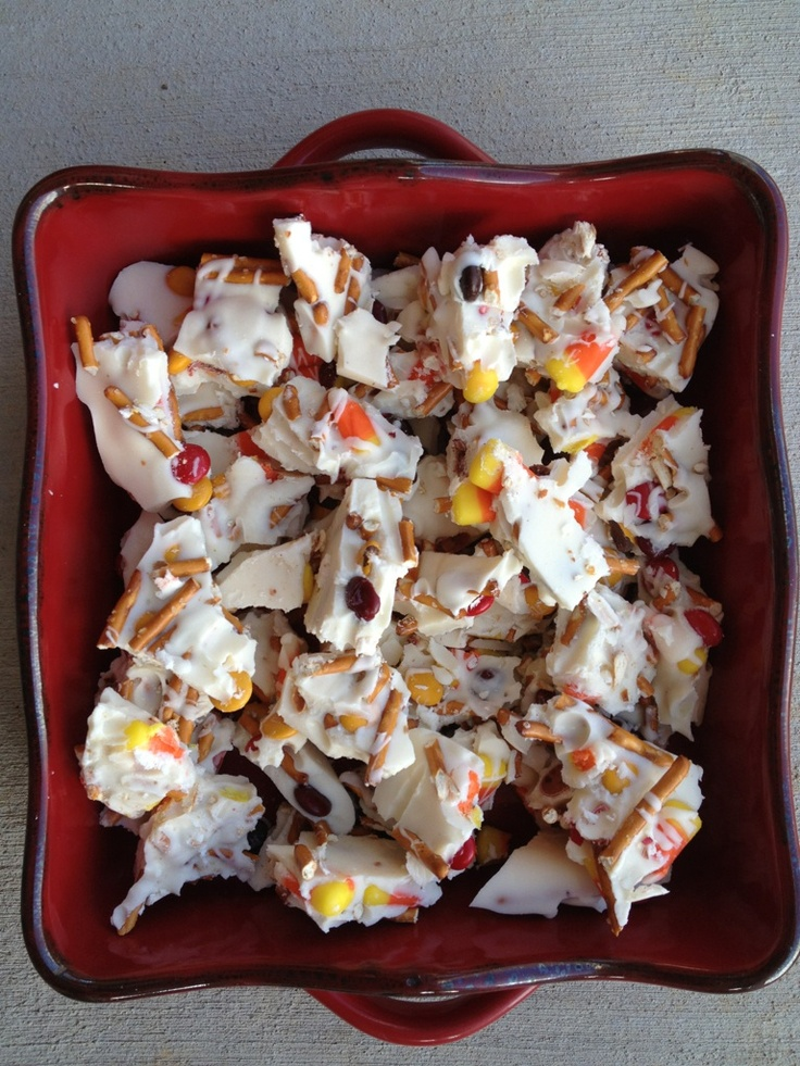 Fall Bark - White chocolate Bark (1 1/2 packages) Melted as directed,  1/2 bag fall colored M & M's,  1/2 bag of candy corn and Pretzels.  Melt chocolate, pour onto baking sheet.  Top with all other ingredients (press into melted chocolate).  Drizzle white chocolate over the top and cool, then break into  pieces ~ Resa Kesterson