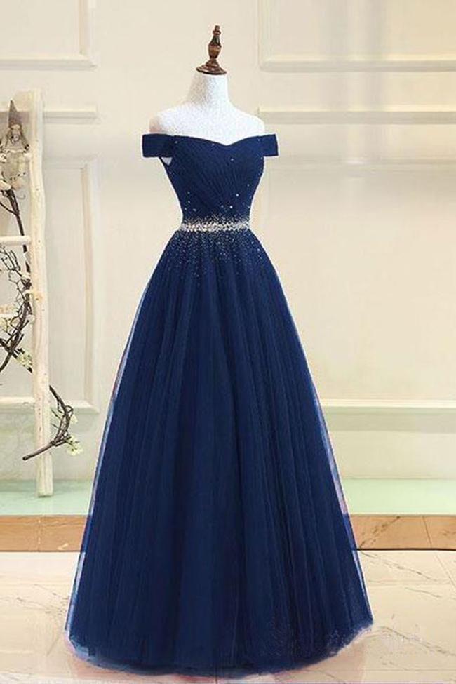 Fashion Navy Blue Tulle Off the Shoulder Beaded Long Prom Dresses Formal Evening Grad Dress LD2051 2