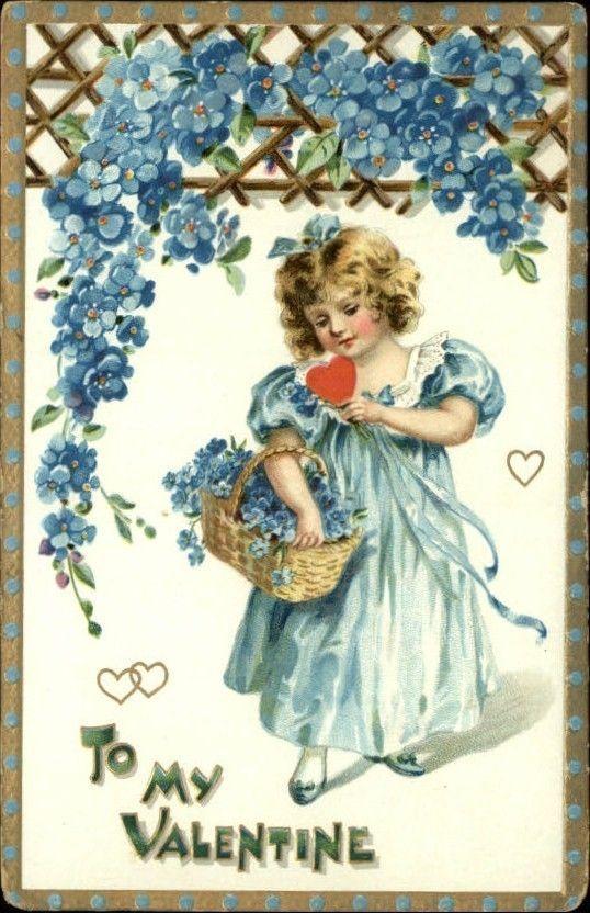 Valentine Little Girl Flowers Heart Gilt Embossed c1910