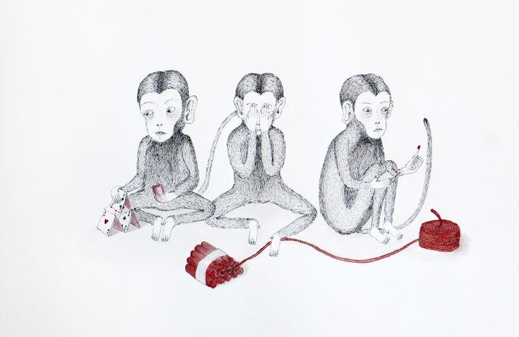 Mizaru-see no evil-non vedo- three monkeys-valeria montemagni