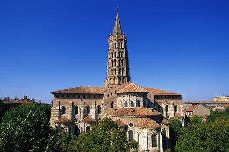 Romanesque Apses Surround the Tower of the Basilica of St. Sernin (1070-1120) in Toulouse, France