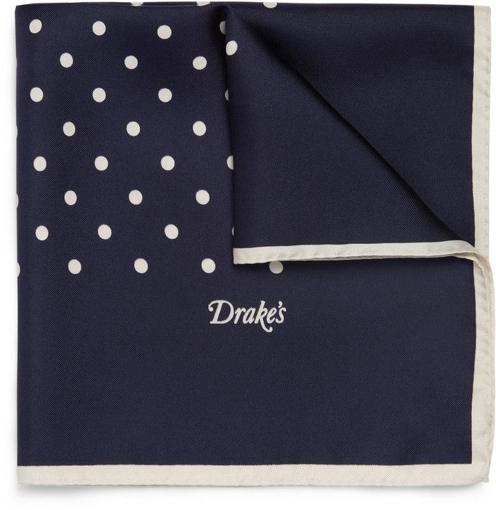 $85, Navy and White Polka Dot Pocket Square: Drakes Drakes Polka Dot Silk Pocket Square. Sold by MR PORTER. Click for more info: https://lookastic.com/men/shop_items/35008/redirect