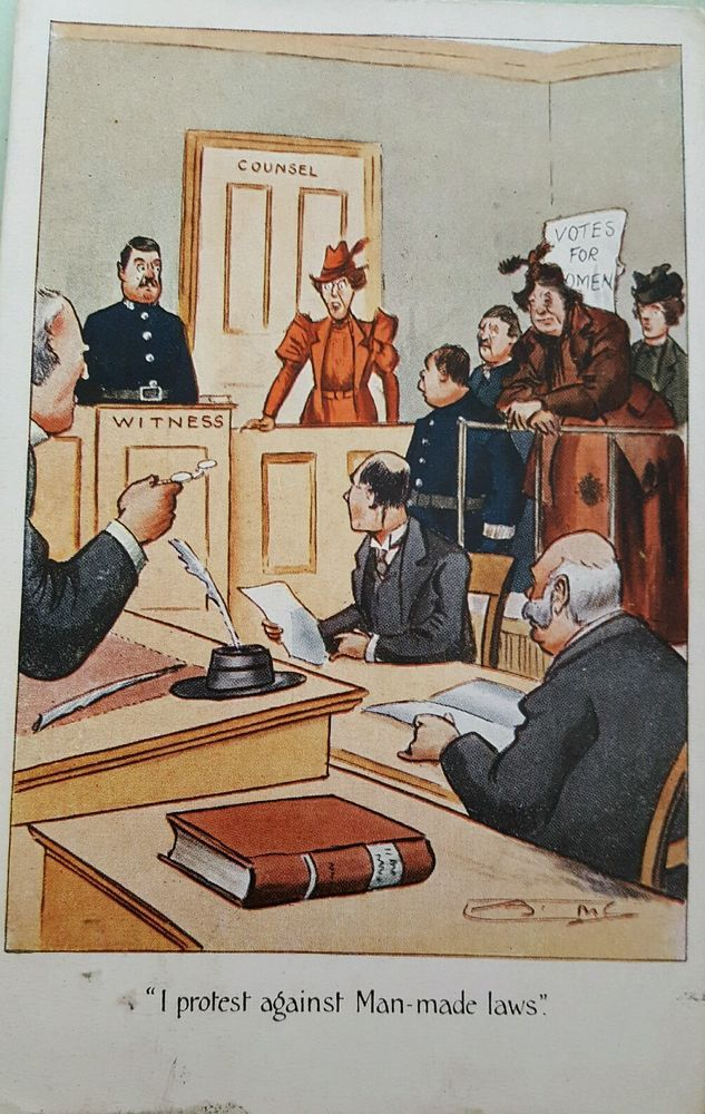 Political Comic Postcard 1900s Suffragette Votes For Women Court Room in…