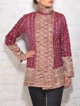 Red Upcycled Silk-Brocade-Saree Overlap Jacket (Fleece Lining) - Size 32