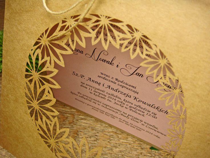 zaproszenia ślubne eko z kolekcji Ogród Alicji wzór  64     Zaproszenia ślubne laserowe, kartki 3D