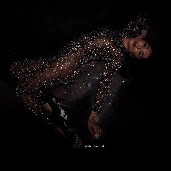 Crystallized black micro-mesh catsuit. by dbleudazzled on Etsy