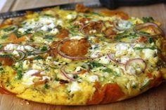 Zoete aardappeltortilla met feta en spinazie - chickslovefood