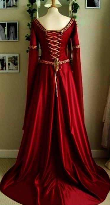 Celtic princess red silk costume Medieval dress by valchiria