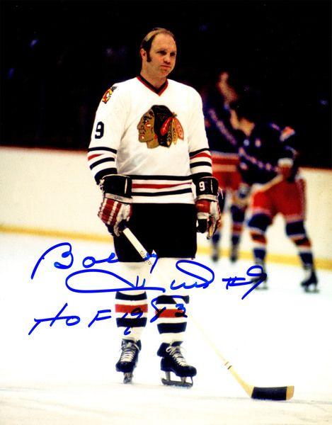 Bobby Hull Signed Blackhawks Standing On Ice 8x10 Photo w/HOF 1983