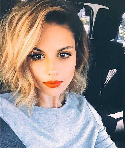 Orange Lipstick with Bob Short Hairstyles for Women