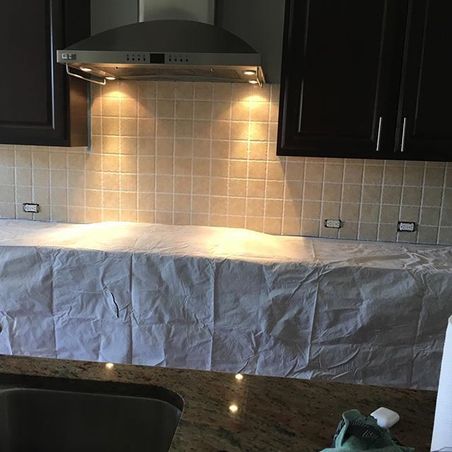 Drop cloth down, ready for demo #thanksgivingproject