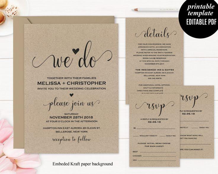 Kraft Paper Wedding Invitation We Do Modern Calligraphyc Font Elegant  Classic Digital Download Rustic