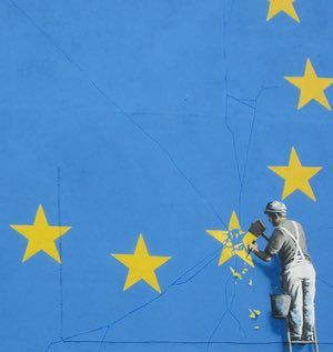 Banksy Brexit mural. A Brexit-inspired mural by Banksy showing a metalworker chipping away at a star on the EU flag has appeared in Dover.The artwork emerged overnight on the Castle Amusements building near the ferry terminal, which connects the UK with mainland Europe.