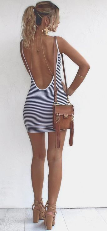 #summer #girly #outfitideas |  Backless Stripe Dress