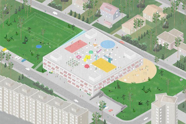 Primary school romont, switzerland by Fala Aterlier