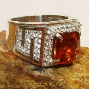 Cincin Pria Garnet Orange Silver Ring 9.5US