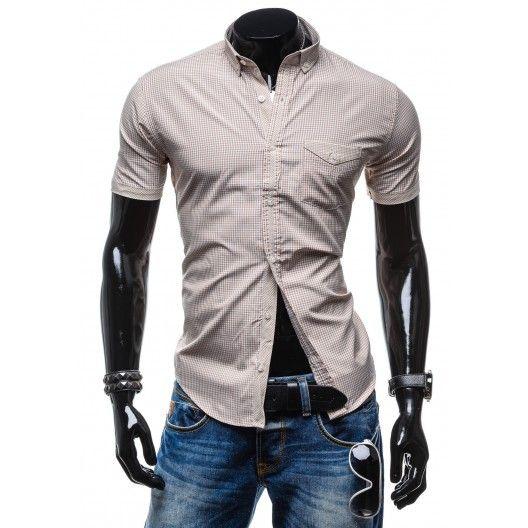 Atraktívna pánska košeľa hnedej farby s kockovaným vzorom - fashionday.eu