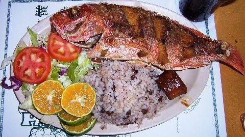 Panamanian food corvina sea bass with arroz con guandu for Corvina fish recipes
