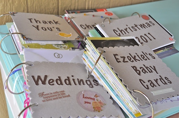 Organize all of the cards you dont want to get rid of into cute books! Adorable idea