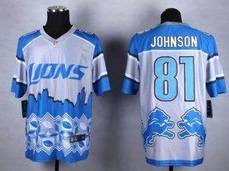 nike detroit lions 81 calvin johnson blue nfl elite noble fashion jersey