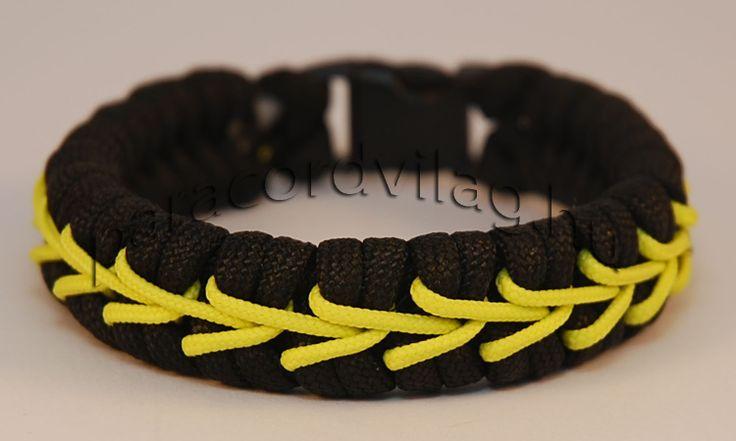 Paracord fishtail karkötő/Fekete-Sárga