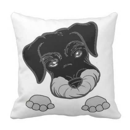 miniature schnauzer black and silver peeking throw pillow - shower gifts diy customize creative