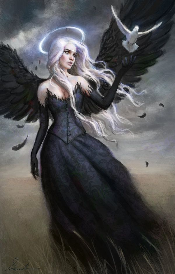 Black Angel by Selenada.deviantart.com on @deviantART The wings of angels are often found on the backs of the least likely people.  Many of us have hidden good within us. No angel is more beautiful than the ones that have fallen, becoming one with humanity, and realizing the fears in life.