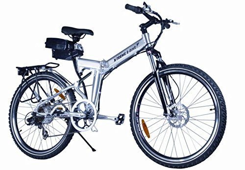 X-Treme Scooter X-Cursion Electric Folding Mountain Bike, eBIke (Silver)