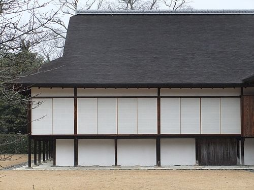 Katsura Imperial Villa, New Palace (桂離宮新御殿) in Kyoto. Contrast of the white of shoji screens and plaster with the grid of woods.