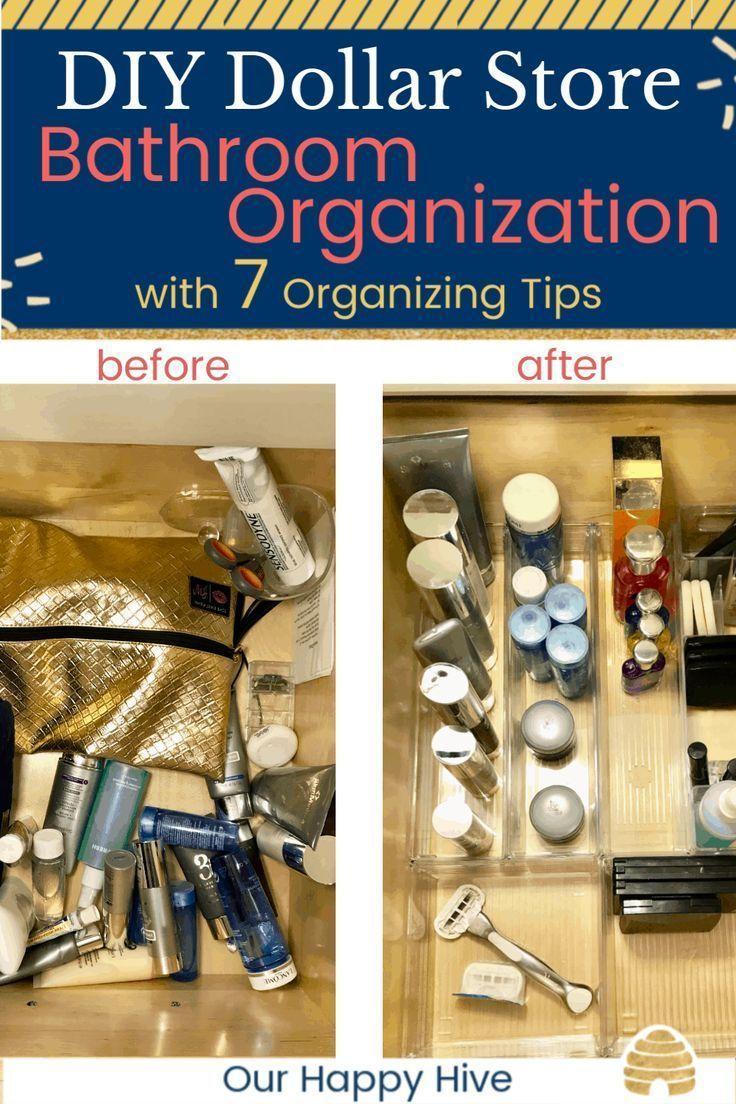 DIY Dollar Store Bathroom Organization + 7 Organizing Tips