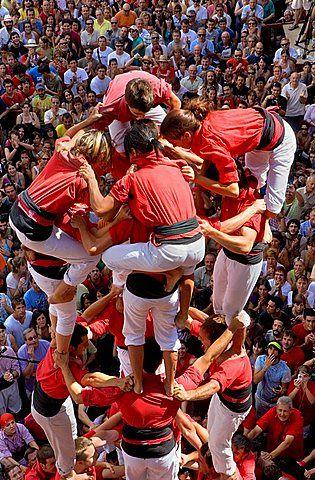 Colla Joves Xiquets de Valls 'Castellers' building human tower, a Catalan tradition Vilafranca del Penedes Barcelona province  Catalonia