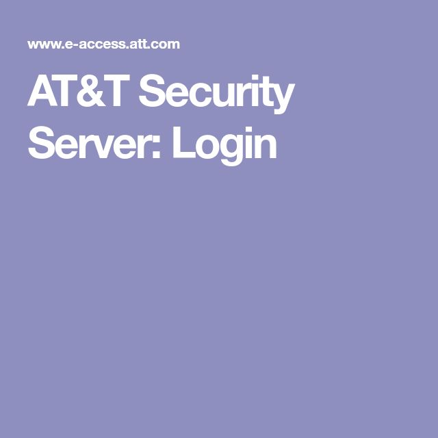 AT&T Security Server: Login