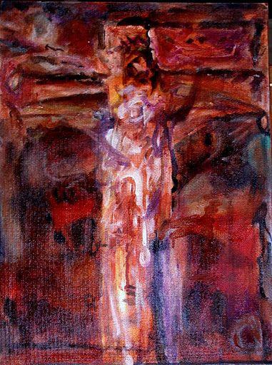 081212 acrylic Meditation on the Holy Cross by John Warren Oakes