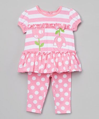 This Begonia Pink Flower Ruffle Swing Top & Polka Dot Shorts - Infant is perfect! #zulilyfinds