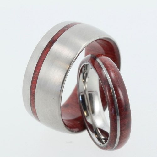 Offset Titanium and Redwood Wedding Set His and par jewelrybyjohan, $439.00