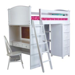 simple white loft bed wdesk drawers and shelves iu0027m