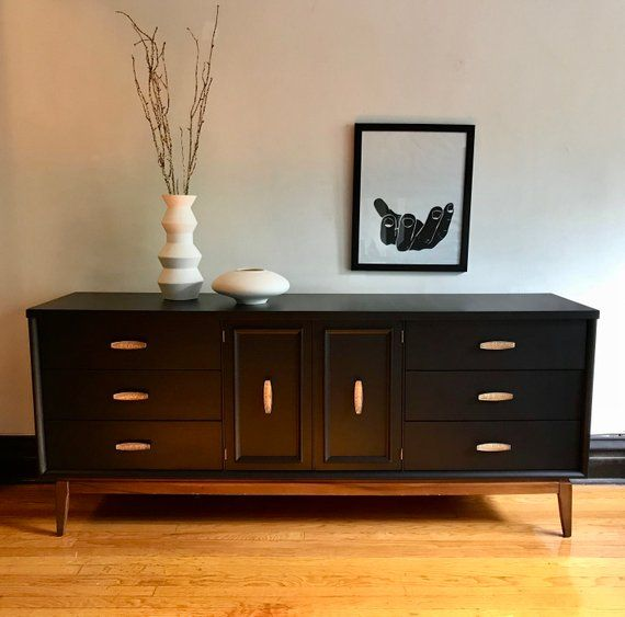 Sold Matte Black And Wood Mid Century Modern Credenza Refinished Mcm Dresser Vintage Modern Media Console Painted Sideboard Buffet Furniture Mid Century Modern Buffet Home Decor