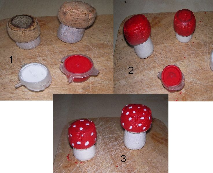 mushrooms out of corks, paint , for decoration