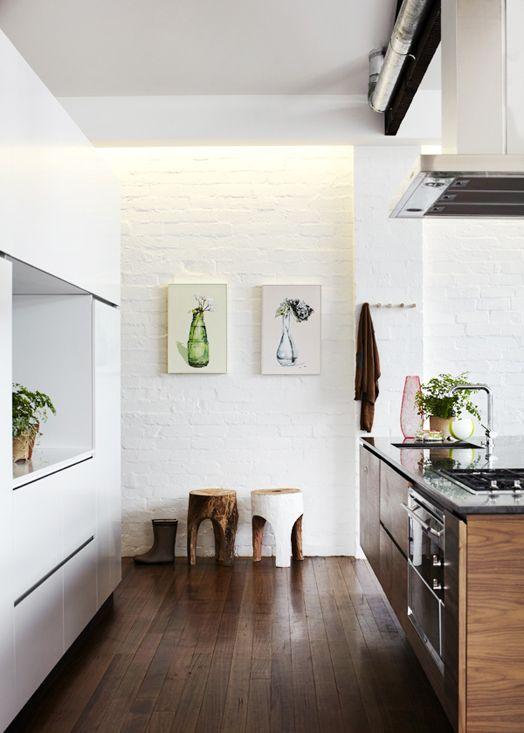 ladrillo visto blanco en la cocina