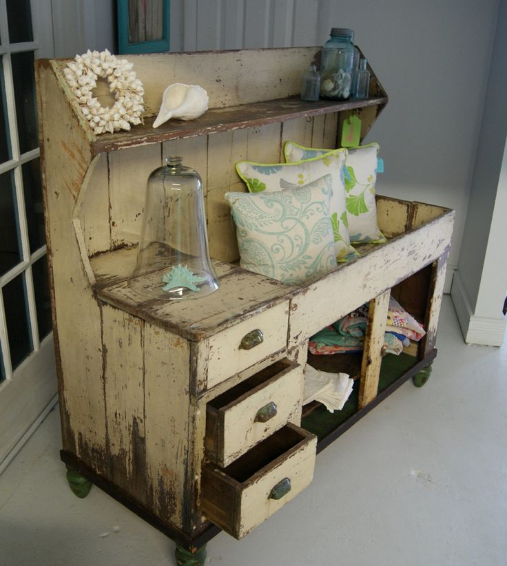 Dry Sinks Can Easily Be Repurposed As A Potting Station And Displayed On Porch Or