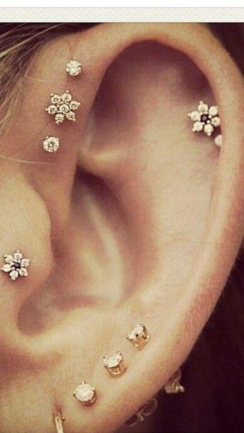 Cute Ear Piercings: tragus, forward helix, helix, lobe #Piercings