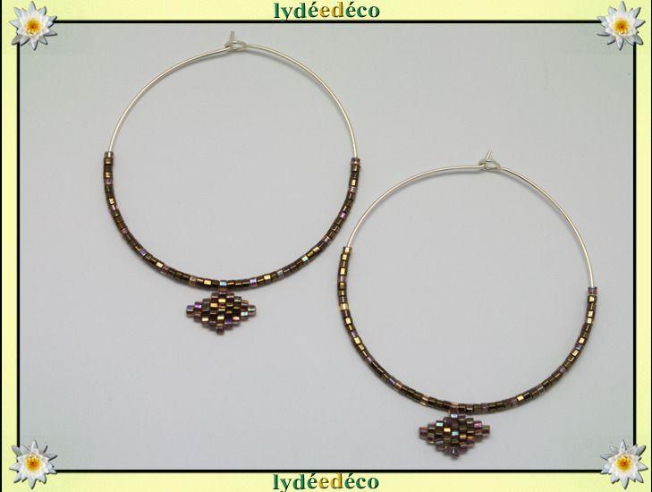 Boucles d'oreilles Creoles perles marron irisé argent 925 diametre 45mm : Boucles d'oreille par lydeedeco