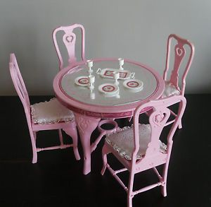 1980s barbie furniture | ... Barbie Sweet Roses Collection Dining Table and Chairs Set 1980s | eBay